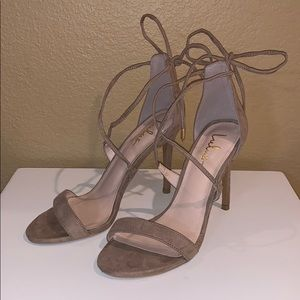 Lulu's Aimee Taupe Suede Lace-Up Heels